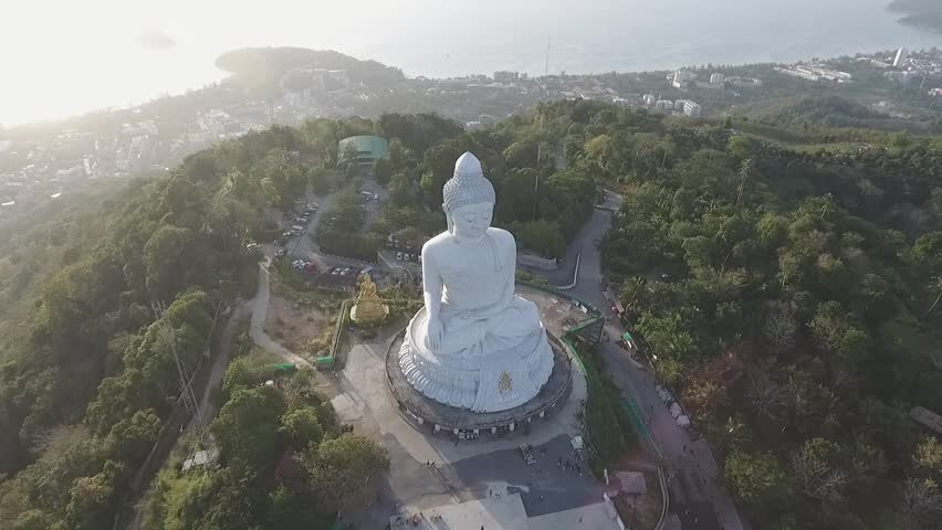 Aerial view Big Buddha Phuket Thailand Height 45 m. Reinforced concrete structure adorned with white jade marble Suryakanta from Myanmar Burma