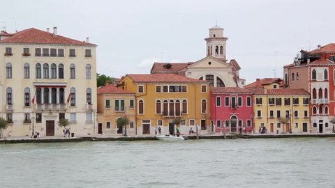 Venice City Italy Famous Place Landmarks View From Sea Lagoon