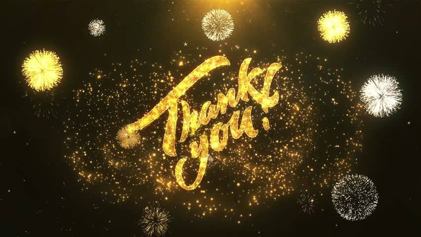 Thank You Greeting Card text Reveal from Golden Firework & Crackers on Glitter Shiny Magic Particles & Sparks Night star sky for Celebration, Wishes, Events, Message, holiday, festival