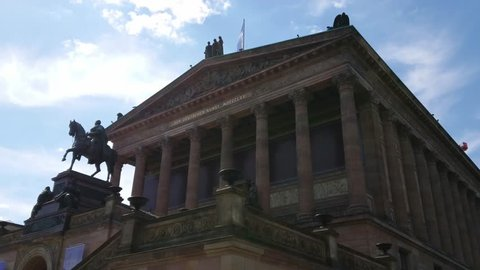 Old National Gallery on Museum Island in Berlin - a famous landmark - BERLIN / GERMANY - MAY 21, 2018