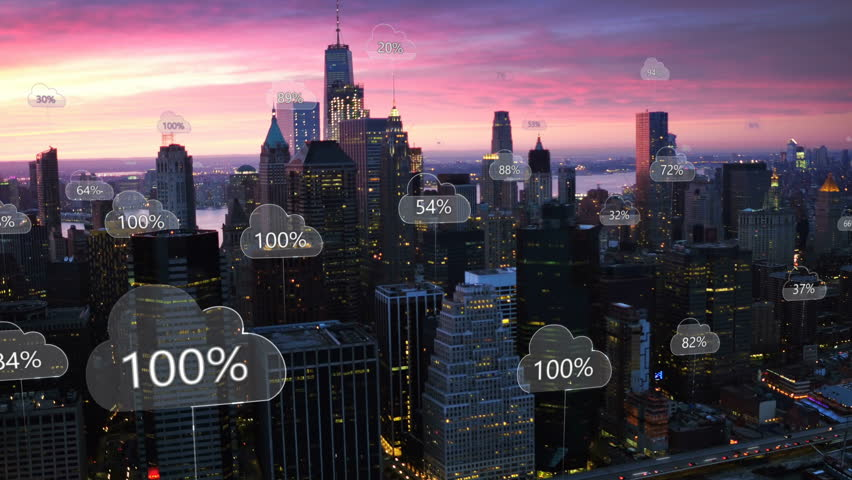 Aerial smart city. Network connections and cloud computing icons with percentages. Technology concept, data communication, artificial intelligence, internet of things. New York City skyline. | Shutterstock HD Video #1011620759