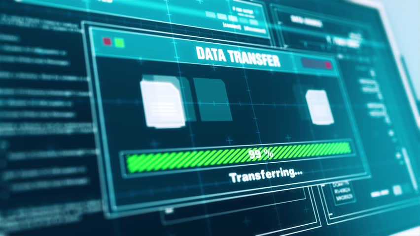 Data transfer Progress Warning Message transfer Complete Alert on Screen , Computer Screen Entering System Login And Password Logging into Showing progress granted System Security.  Royalty-Free Stock Footage #1011632435