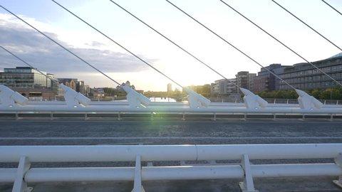 Dublin, Ireland - May, 2016: The Samuel Beckett Bridge cables in Dublin