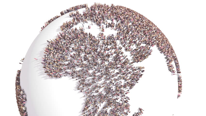 World of People. Thousands of People formed the World Map. Human Overpopulation. Over Populated World. Population Growth. Overpopulation Crisis Royalty-Free Stock Footage #1011675272