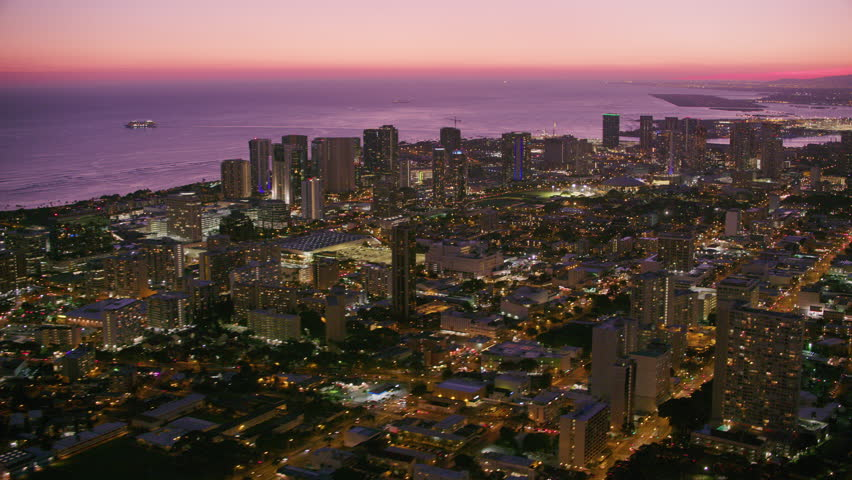 Honolulu, Oahu, Hawaii circa-2018. Aerial view of Honolulu at sunset.