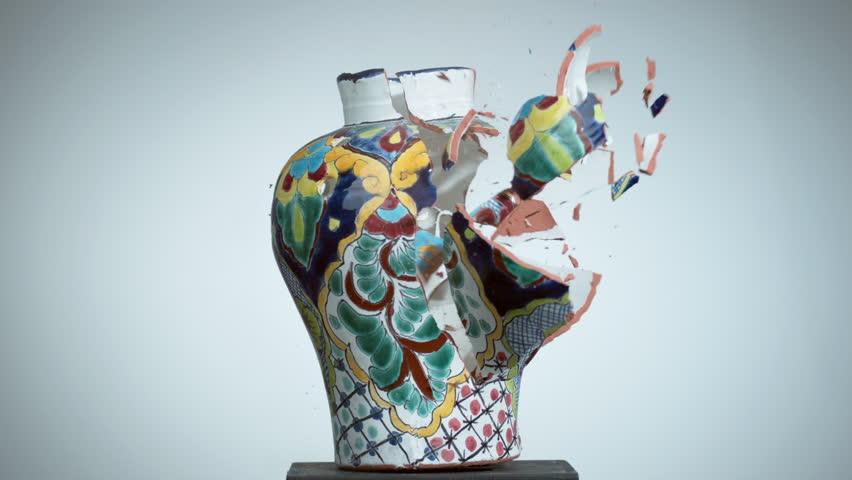 Ceramic vase shattering in super slow motion, shot with Phantom Flex 4K