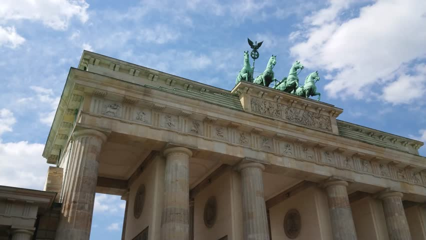 Famous landmark in Berlin - The Brandenburg Gate called Brandenburger Tor | Shutterstock HD Video #1011678542