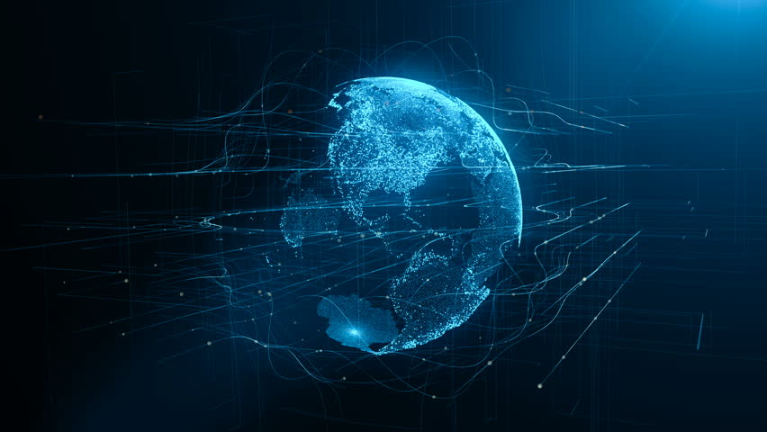 Digital data globe - abstract 3D rendering of a scientific technology data network surrounding planet #1011682430