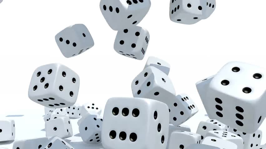 Many dices fall on white background, 3d animation | Shutterstock HD Video #1011690038