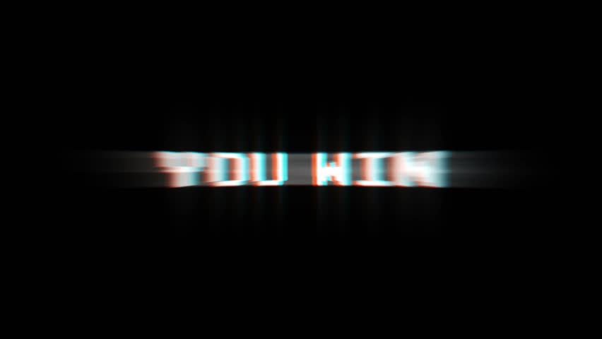 YOU WIN Glitch Text Animation (3 Versions with Alpha Channel), Old Gaming Console Style, Rendering, Background, Loop, 4k