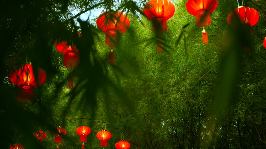 Rows of traditional chinese style red lanterns hanging on bamboo tree tunnel arch. Decoration lamps for Chinese Lunar New Year festival. Tropical oriental garden. Bamboo fresh green leaves background.