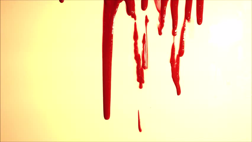 Blood splatter. Blood dripping down over light background. Red liquid. | Shutterstock HD Video #1011750344