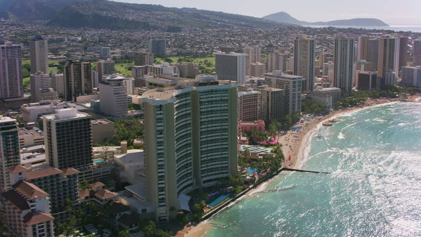 Honolulu, Oahu, Hawaii circa-2018. Aerial view of Waikiki Beach. Shot with Cineflex and RED Epic-W Helium.