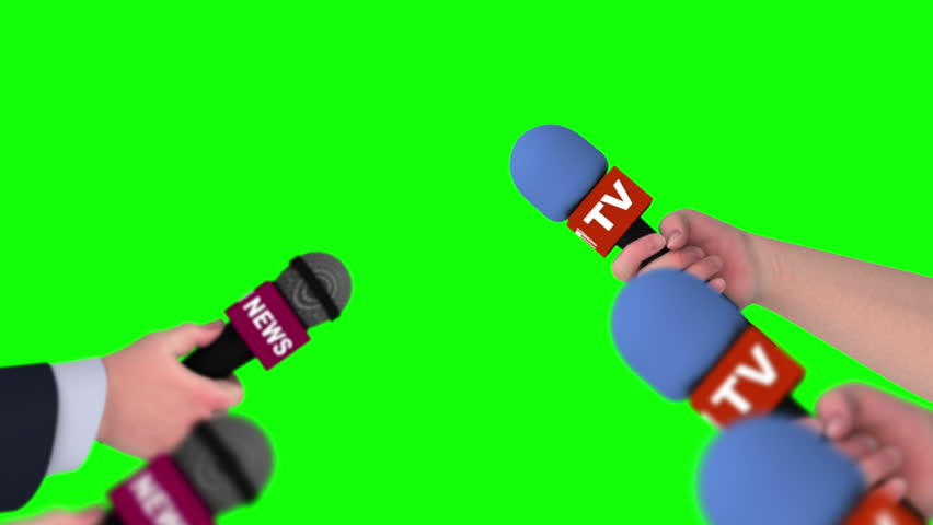 Microphones in hands of reporters, 3d animation on green screen, seamless loop. #1011772694