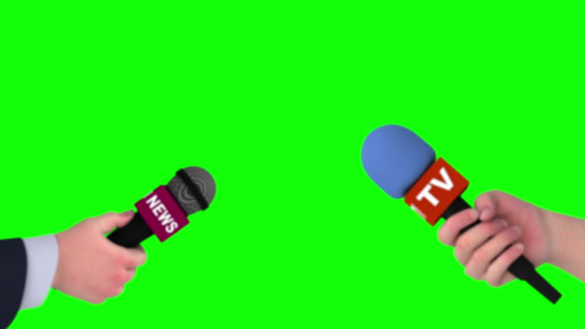 Zoom in of hands with microphones, 3d animation on green screen. #1011773006
