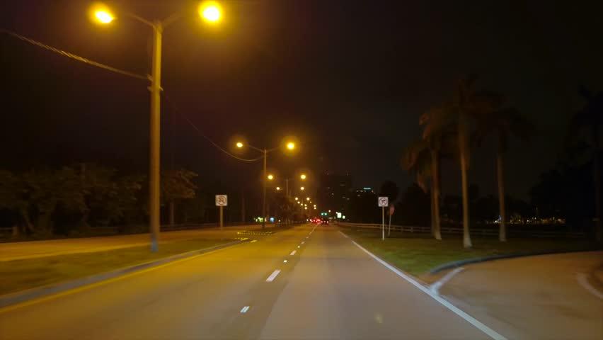 Night drive Haulover Park Miami Collins Avenue 1080p