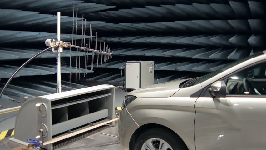 testing of new car in radio-frequency anechoic chamber, panorama Royalty-Free Stock Footage #1011796646