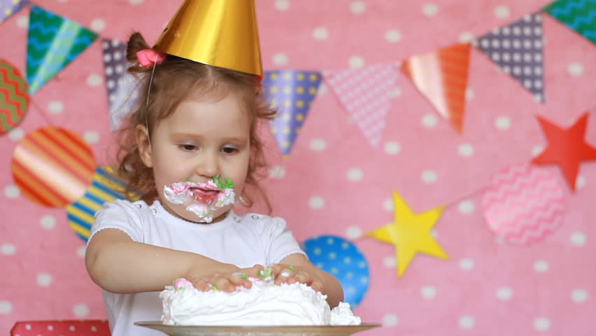 Brilliant Happy Birthday Child Girl Eats Stock Footage Video 100 Royalty Funny Birthday Cards Online Inifofree Goldxyz