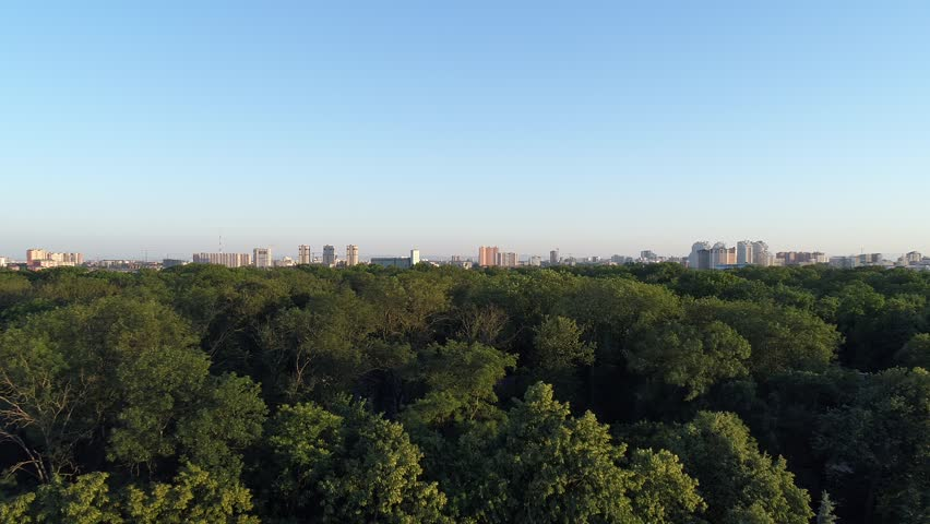 Aerial photography, park in the background of the city