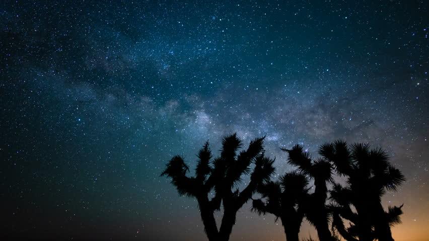 Milky Way Galaxy rises over Joshua Tree National Park California USA