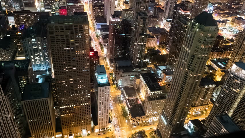 Looking Down on Michigan Avenue in Downtown Chicago at Night | Shutterstock HD Video #1011821231