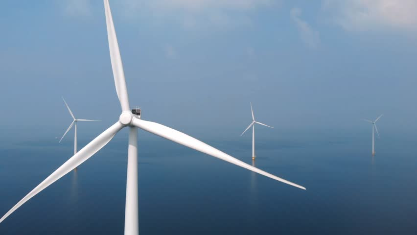 Wind turbine from aerial view Royalty-Free Stock Footage #1011827003