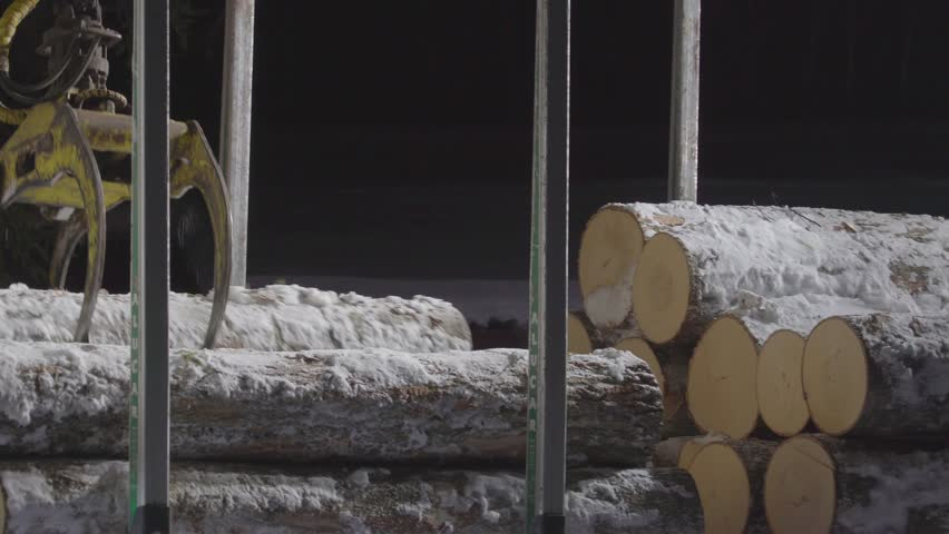 The logs covered with icey snow being gripped by the log grappler transporting from the truck to the ground   Shutterstock HD Video #1011832268