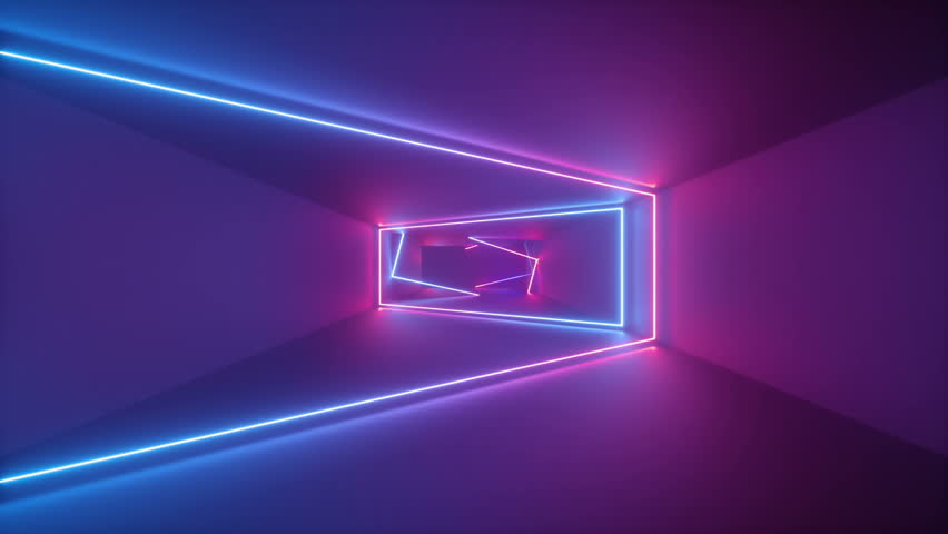 3d render, abstract seamless background, looped animation,  fluorescent ultraviolet light, glowing neon lines, moving forward inside endless tunnel, blue pink spectrum, modern colorful illumination #1011845243
