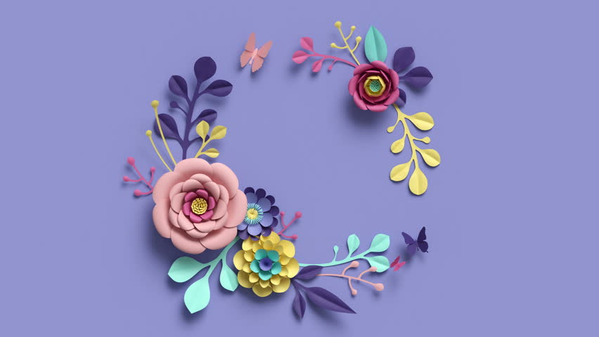 3d render, round floral wreath, growing nature, violet background, paper flowers, blooming botanical pattern, bridal bouquet, papercraft, pastel colors, 4k animation