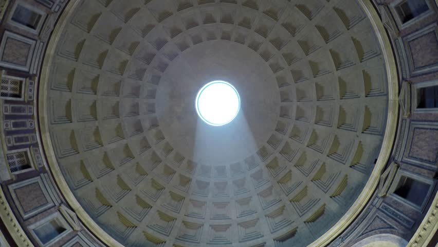 Rome Italy Pantheon dome footage panning around the oculus showing the sky and the dome roof  this concrete coffered dome is poured into moulds the building is a popular tourist attraction in Rome Royalty-Free Stock Footage #1011848399