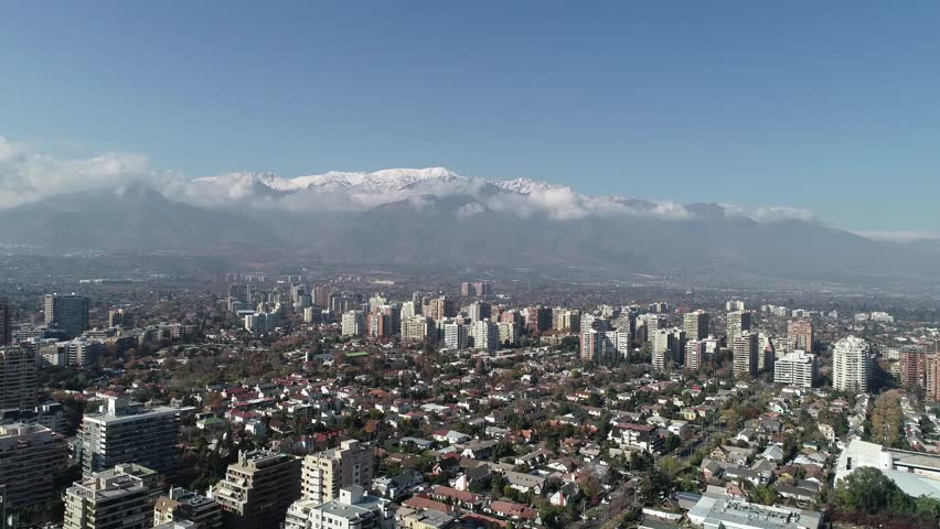 Aerial view of a park and city in Santiago, Chile   Shutterstock HD Video #1011855023