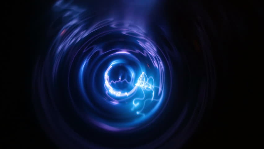 Plasma tunnel with blue and light blue flashes. Big electric shocks in an path. Blue lightning storm on a black background, electricity and power out of control. Energy, science and magic showed