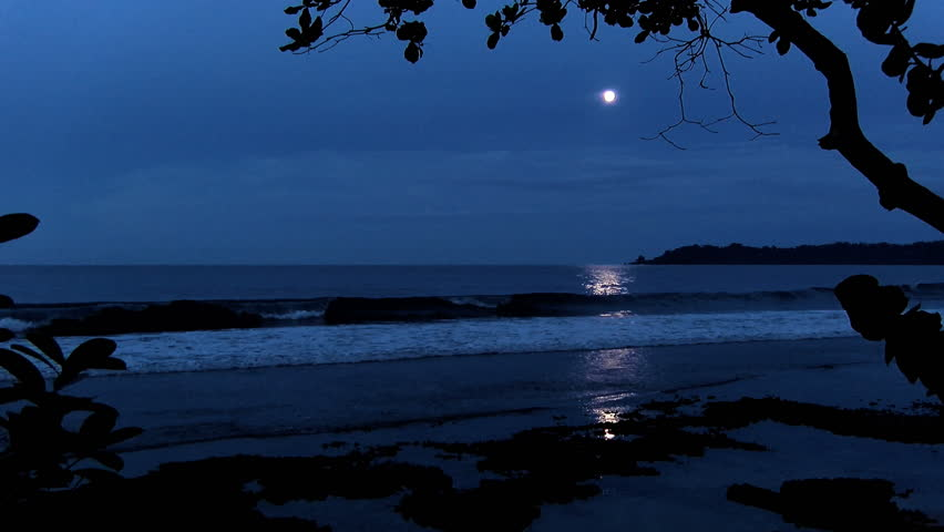 Full moon on a Caribbean Beach. White wake on the waves of the sea in the tropics. Waves breaking on the shore in the light of the moon.