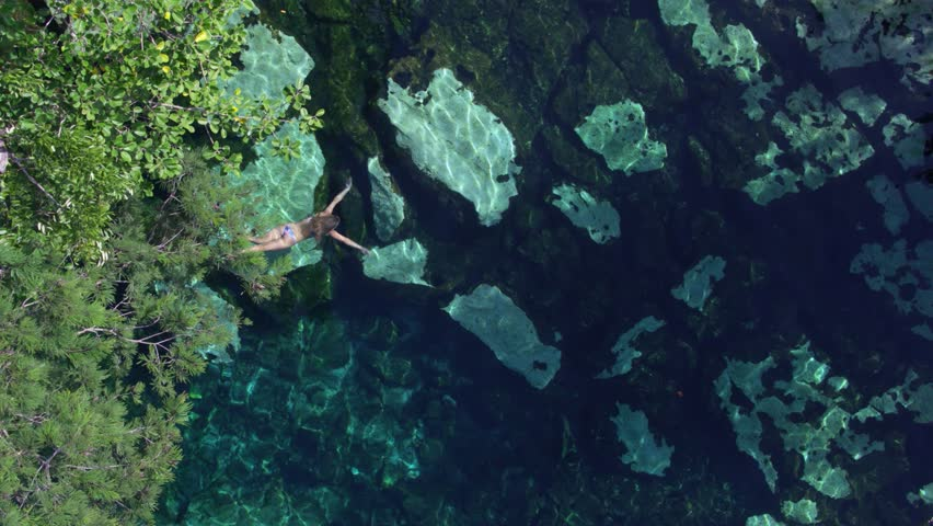 Girl Swimming in a Cenotes in Tulum