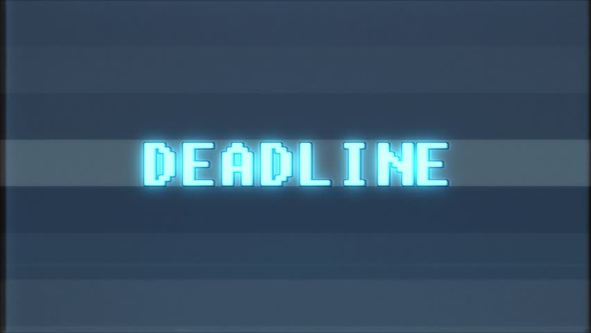 Retro videogame DEADLINE word text computer tv glitch interference noise screen animation seamless loop New quality universal vintage motion dynamic animated background colorful joyful video m | Shutterstock HD Video #1011906917