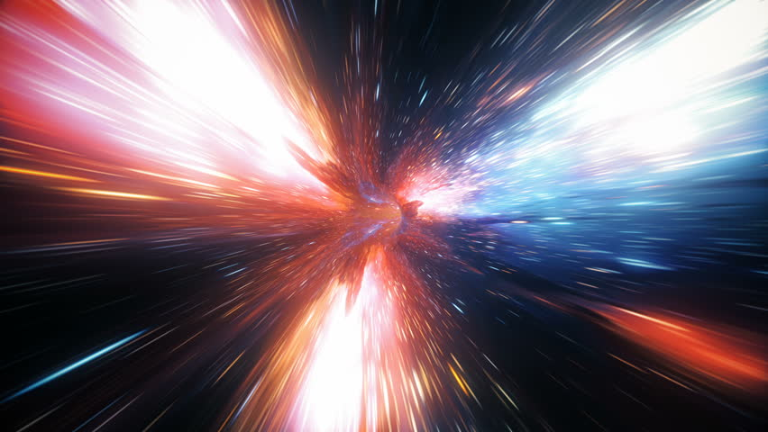 Abstract jump in space in hyperspace among stars and flying in the wormhole