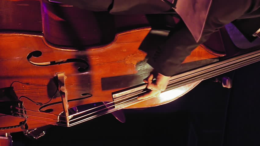 Contrabass player plays the double bass on the stage with sound lights. Jazz retro vintage concert performance entertainment. Close up shot with selective focus. Vertical format video.