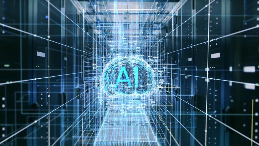 The Concept of Digital Brain: Abstraction of Functional Artificial Intelligence in the Data Center with Streams of Information Going through It. AI Letters inside the Brain. Shot on RED EPIC-W 8K. Royalty-Free Stock Footage #1011929003