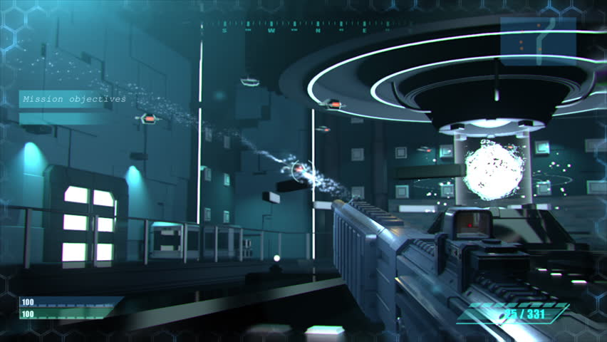Mock-up of the Sci-Fi First Person Shooter. 3D Game Walkthrough, FPS with Gun on a Spaceship, War Against Flying Robots.