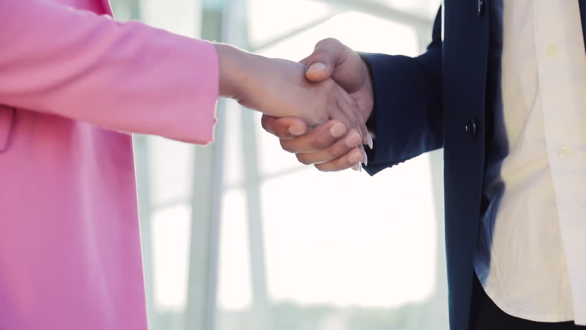 Business Handshake. Businessman and Businsswoman shaking hands on Business Deal. Close Up View. Startup Business People. Stylish Look. Classical Suit. #1011945215