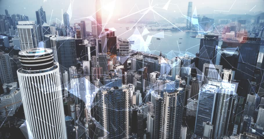 Modern cityscape and linking communication network in Hong Kong, communication concept. Royalty-Free Stock Footage #1011949568