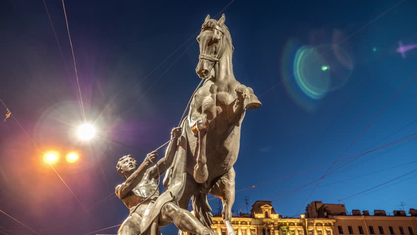 Hyperlapse of the Horse Tamer sculpture of Anichkov Bridge, first and most famous bridge across the Fontanka River in Saint Petersburg, Russia. This statue was created in 1851.