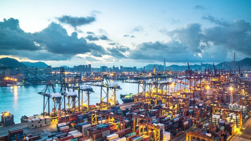 Timelapse of hongkong international container port during sunrise