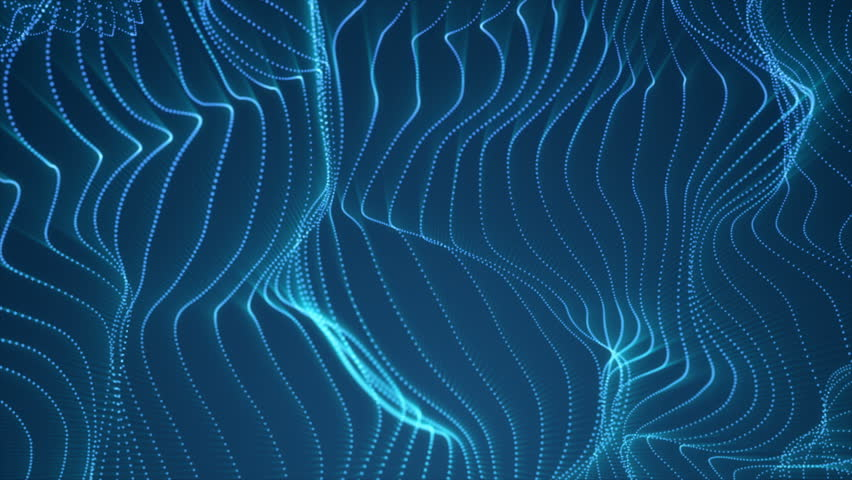 Abstract loopable blue cg motion waving dots texture with glowing defocused particles. Cyber or technology digital landscape background. 3840x2160 4k uhd