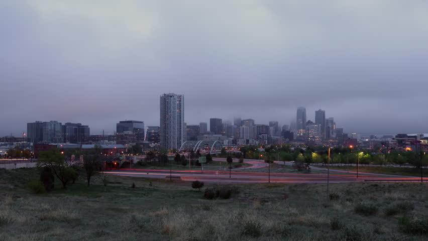 Denver Skyline in Fog at Sunrise Time Lapse