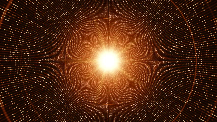 Technological background with animation of flying into digital tunnel from flickering particles, dots or digits of binary code. Animation of seamless loop. | Shutterstock HD Video #1012011386