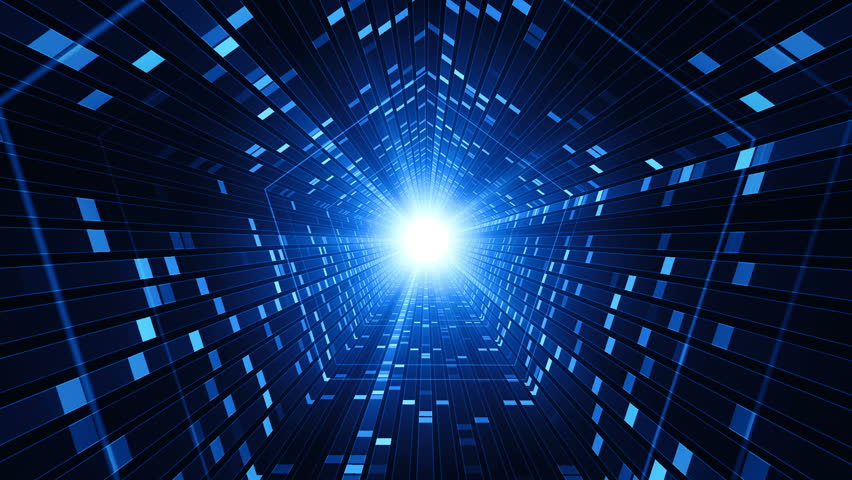 Technological background with animation of flying into digital tunnel from flickering particles, dots or digits of binary code. Animation of seamless loop. #1012011539