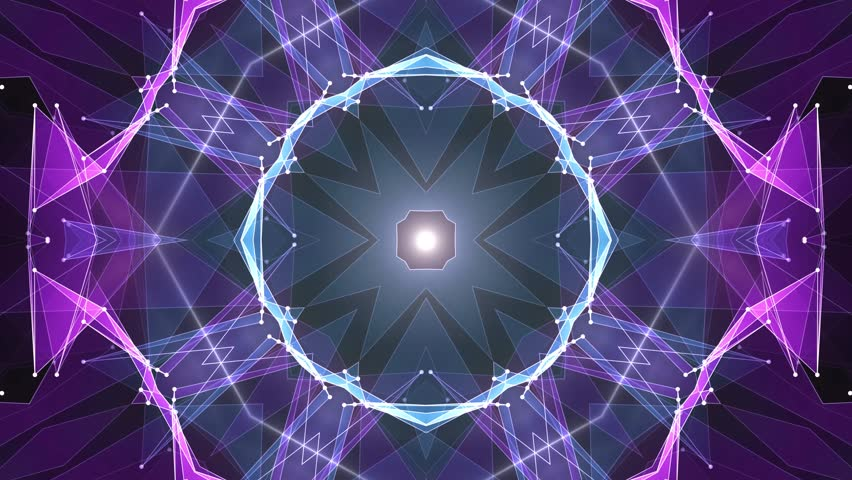 abstract symmetrical BLUE PURPLE polygon star shape shiny kaleidoscope cloud animation background new quality dynamic technology motion colorful video footage #1012031381