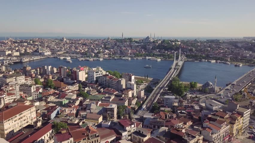 Panorama of Istanbul, biggest city in Turkey. Aerial view | Shutterstock HD Video #1012041794