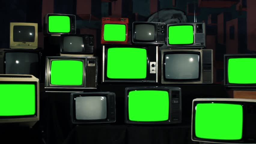 """Nine Old TVs with Green Screen and Stack of Retro TVs. Zoom Out. You can Replace Green Screen with the Footage or Picture you Want with """"Keying"""" effect in After Effects (Check out Tutorials). 